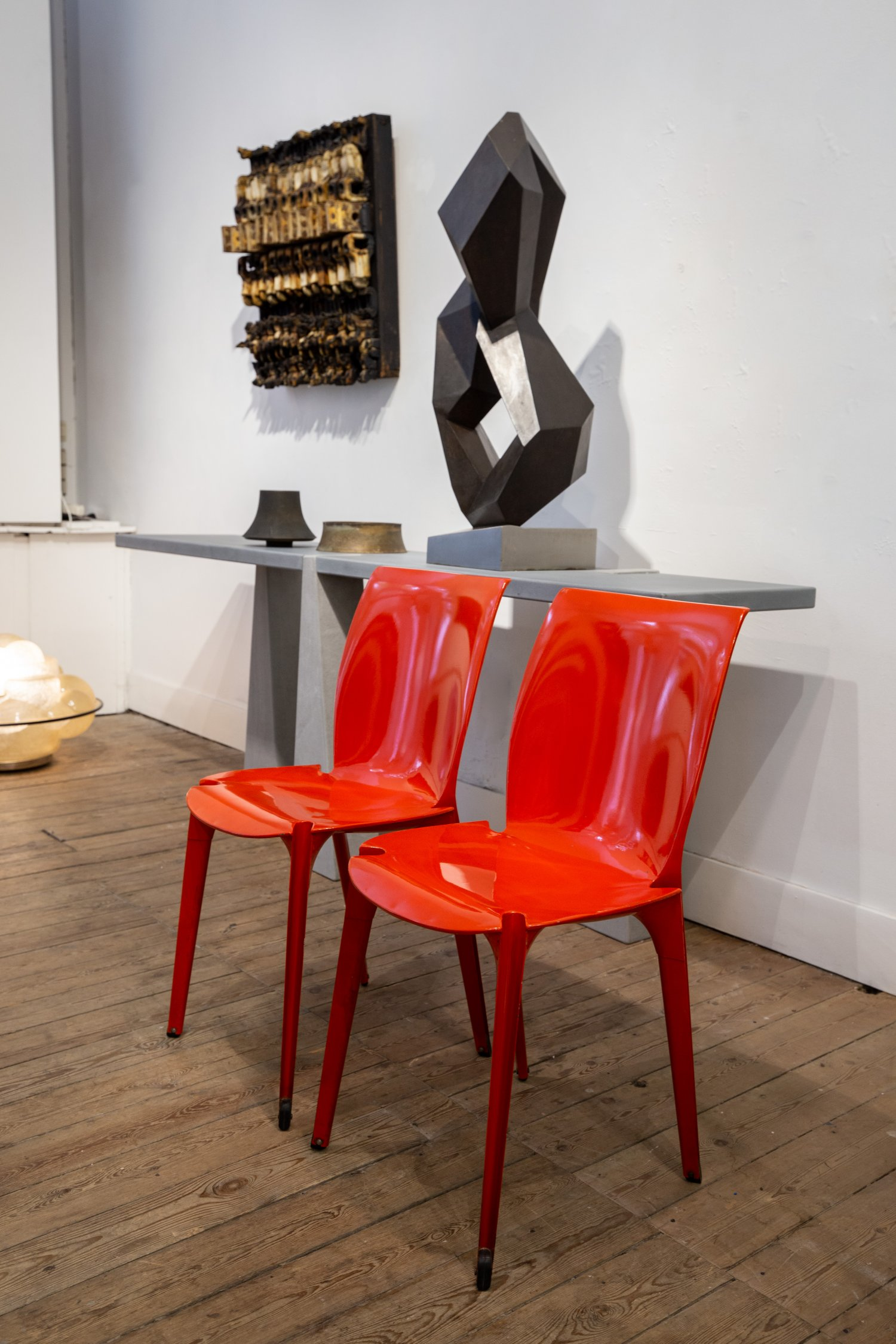 Pair of red 'Lambda' chairs by Marco Zanuso & Richard Sapper