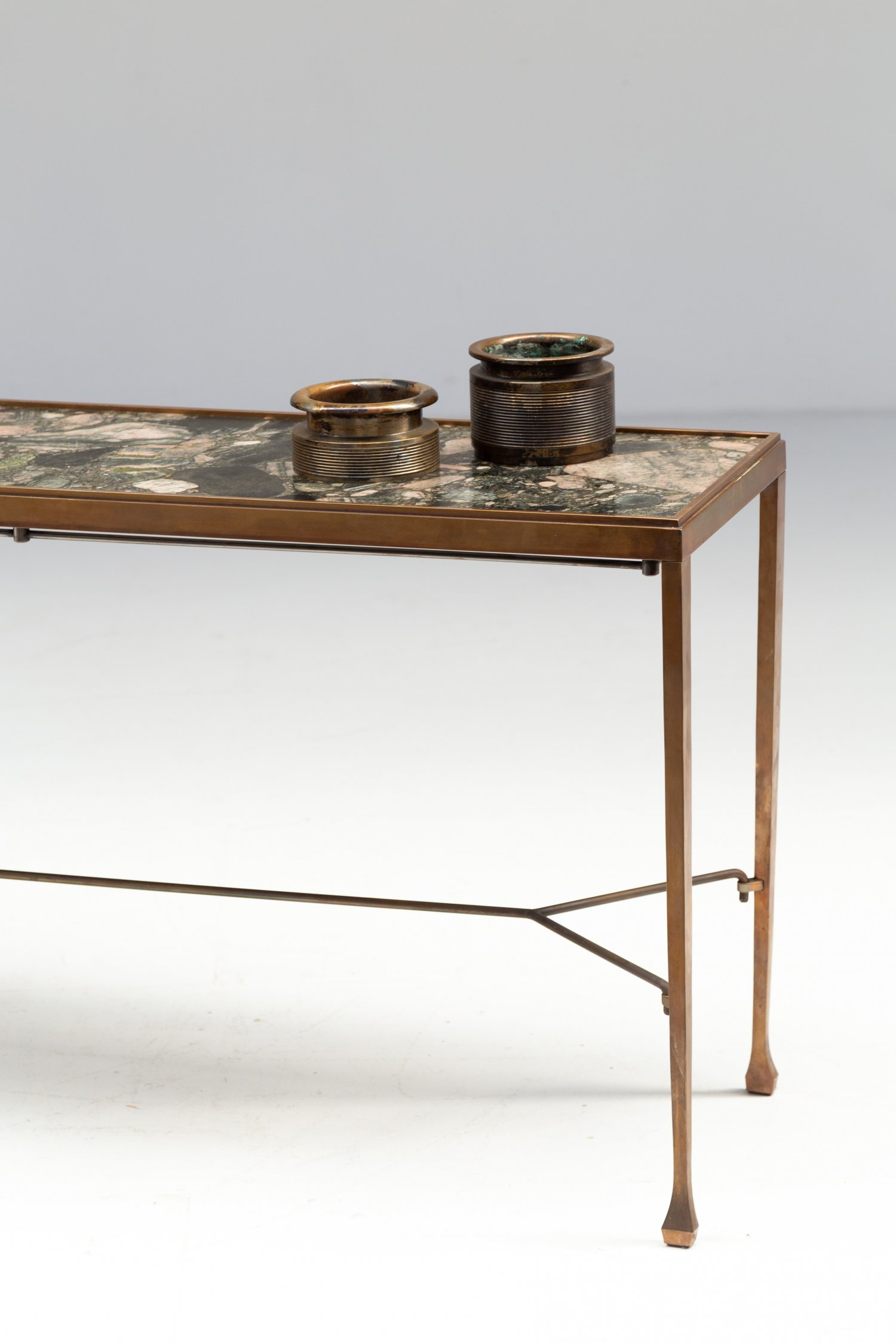 Dries Van Noten console in brass and marble.