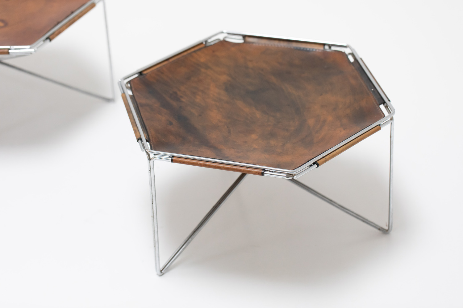 Leather side tables
